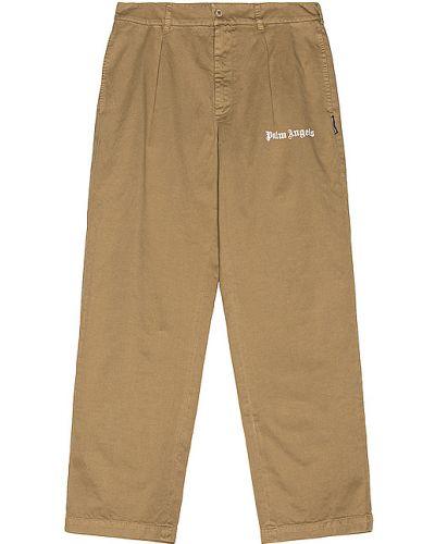 Klasyczny brązowy bawełna bawełna klasyczne spodnie Palm Angels