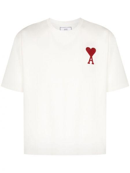 Biały t-shirt bawełniany z printem Ami