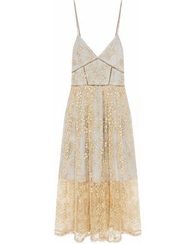 Платье миди с вышивкой с цветочным принтом Self-portrait