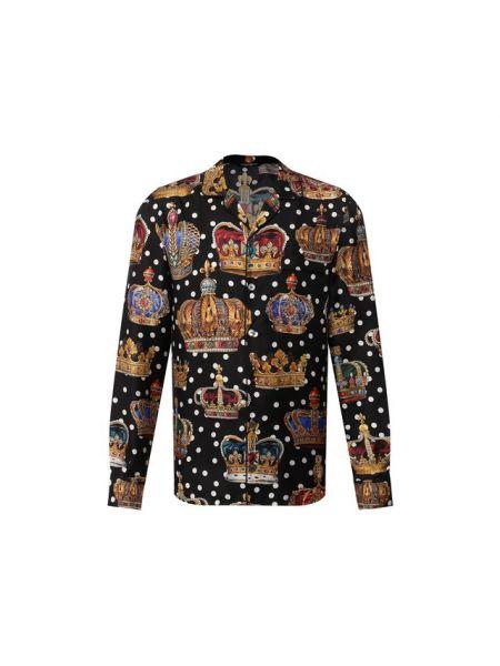 Рубашка шелковая в горошек Dolce & Gabbana