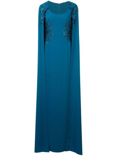 Платье с вышивкой - синее Marchesa Notte