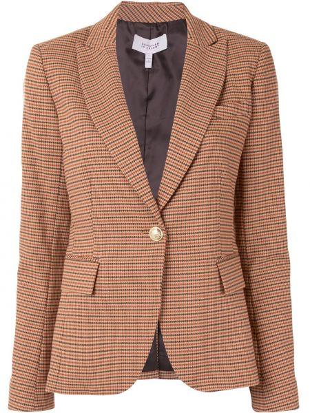 Однобортный коричневый удлиненный пиджак в клетку Derek Lam 10 Crosby