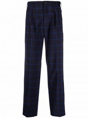 Niebieskie spodnie z paskiem wełniane Comme Des Garcons Homme Deux
