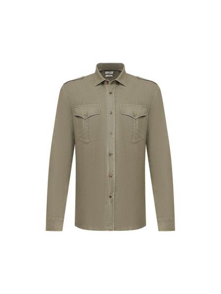 Рубашка с погонами с карманами Brunello Cucinelli