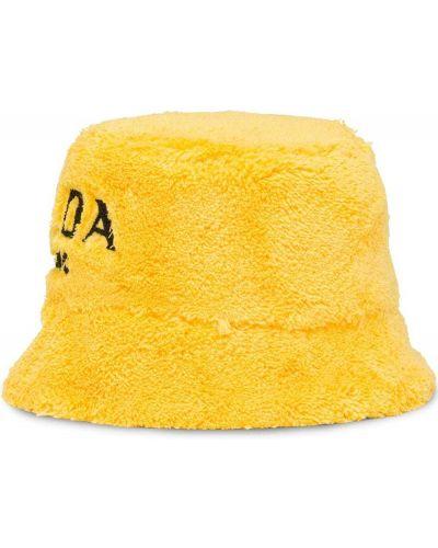 Żółty kapelusz bawełniany z haftem Prada