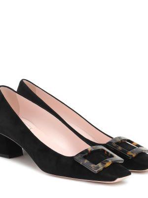 Повседневные черные туфли-лодочки из натуральной кожи Roger Vivier