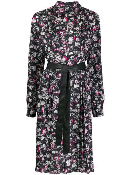 Шелковое классическое плиссированное платье миди с воротником Karl Lagerfeld