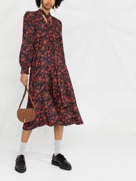 Черное платье миди в цветочный принт на молнии See By Chloé
