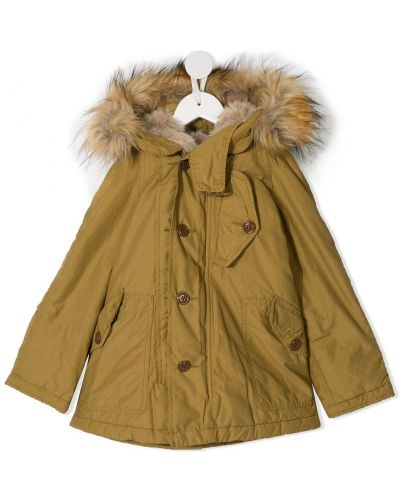 Желтое длинное пальто с опушкой Denim Dungaree