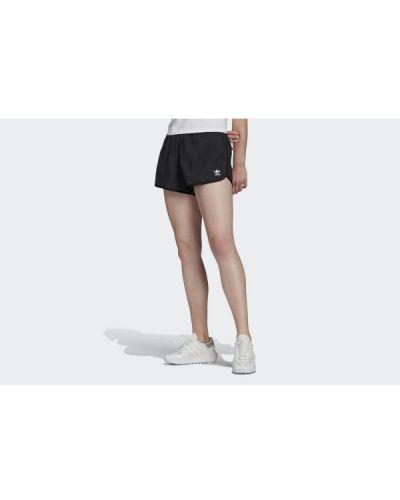 Czarne szorty w paski z nylonu Adidas
