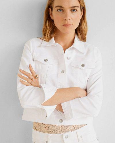 Джинсовая куртка осенняя белая Mango
