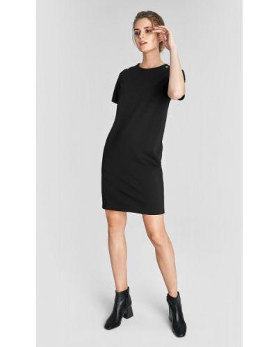 Черное прямое платье мини на пуговицах с вырезом Ostin
