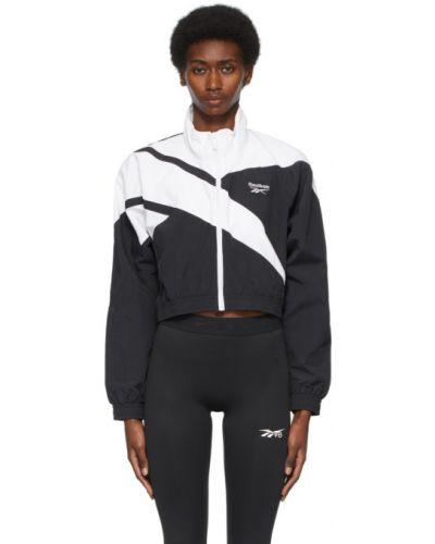 Черная длинная куртка с вышивкой с воротником Reebok Classics