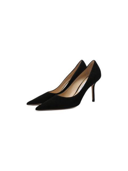 Замшевые туфли черные на шпильке Jimmy Choo