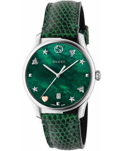 Зеленые часы на кожаном ремешке Gucci