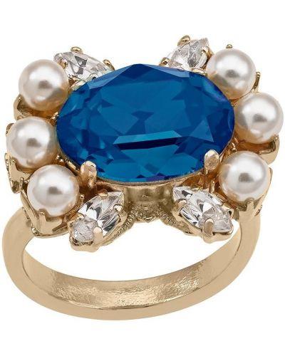 Złoty pierścionek pozłacany perły Anton Heunis