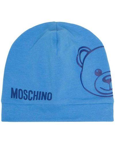 Хлопковая синяя вязаная кепка Moschino Kids