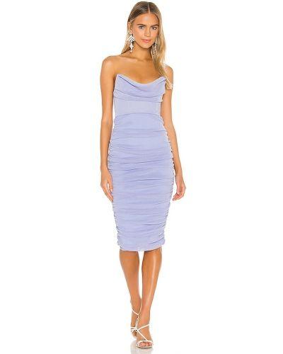 Синее платье с декольте Michael Costello