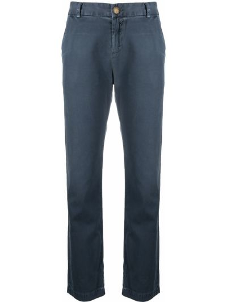 Прямые хлопковые синие укороченные брюки Current/elliott