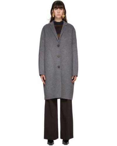 Однобортное шерстяное длинное пальто с воротником с карманами Acne Studios