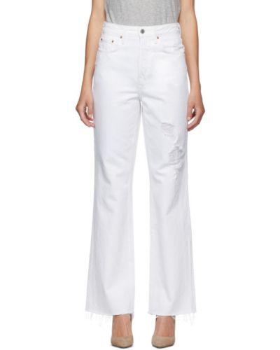 Белые джинсы стрейч с манжетами с заплатками Grlfrnd