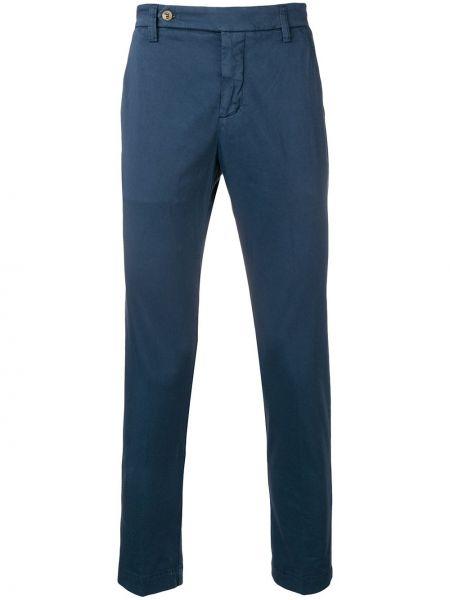 Синие деловые брюки с поясом на пуговицах Entre Amis