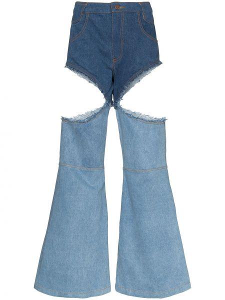 Хлопковые синие расклешенные джинсы на молнии Telfar