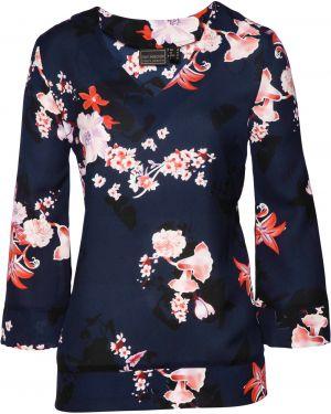Блузка с длинным рукавом кружевная синяя Bonprix