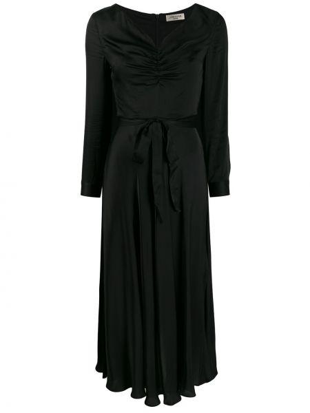 Приталенное платье миди - черное Jovonna