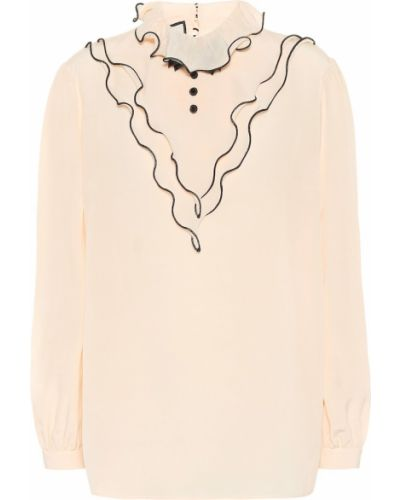 Beżowa bluzka z jedwabiu vintage Gucci