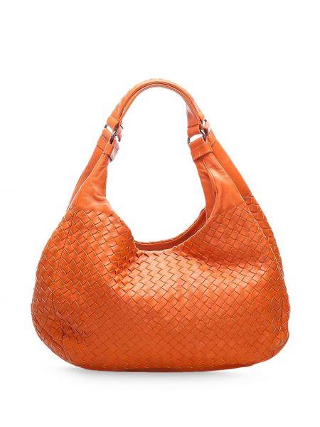 Оранжевая кожаная сумка с карманами из натуральной кожи для полных Bottega Veneta Pre-owned