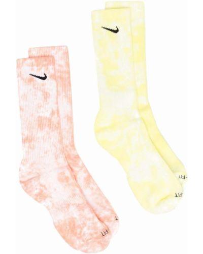 Żółte skarpety bawełniane z printem Nike
