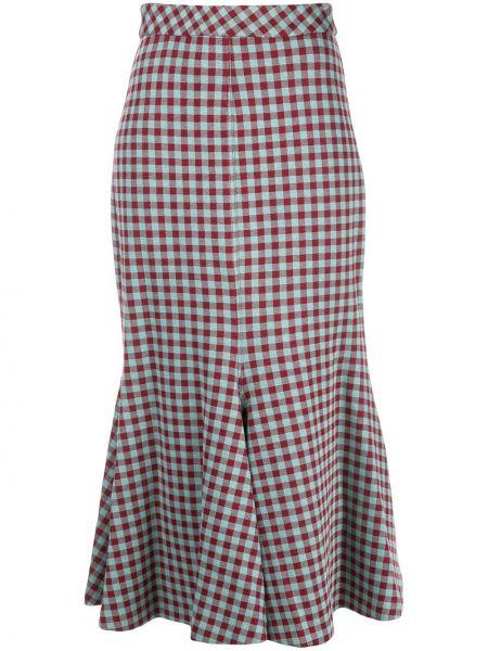 Красная нейлоновая расклешенная юбка миди с оборками Rosetta Getty