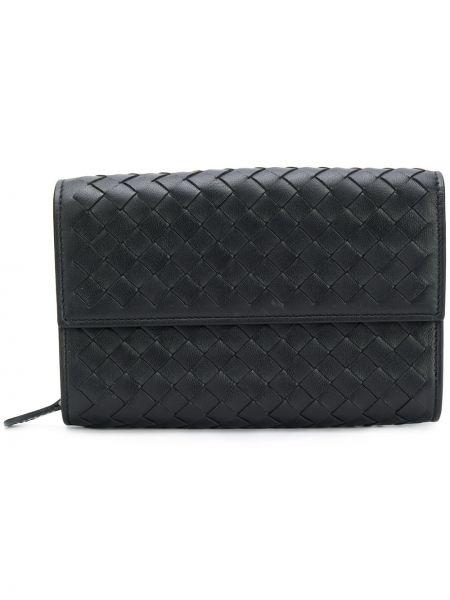 Черный кожаный кошелек круглый Bottega Veneta