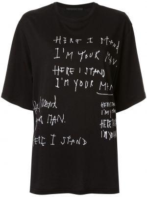 Хлопковая прямая черная футболка с круглым вырезом Haider Ackermann