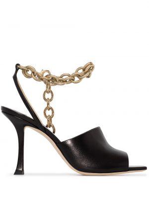 Skórzany czarny sandały na pięcie Jimmy Choo