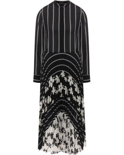 Платье миди из вискозы черно-белое Poustovit