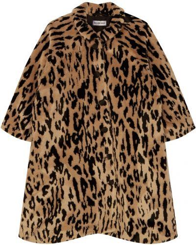 Укороченное пальто леопардовый с принтом Balenciaga