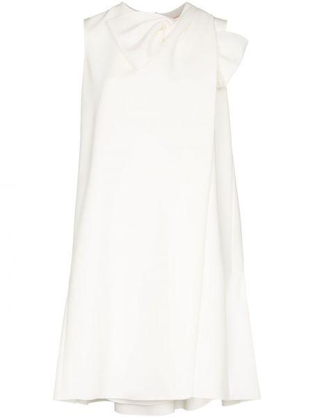 Biała sukienka z jedwabiu bez rękawów Roksanda