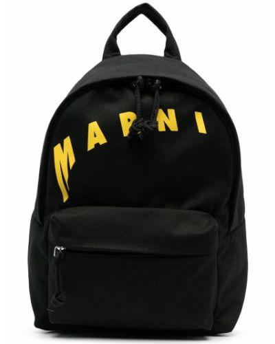 Czarny plecak skórzany z printem Marni