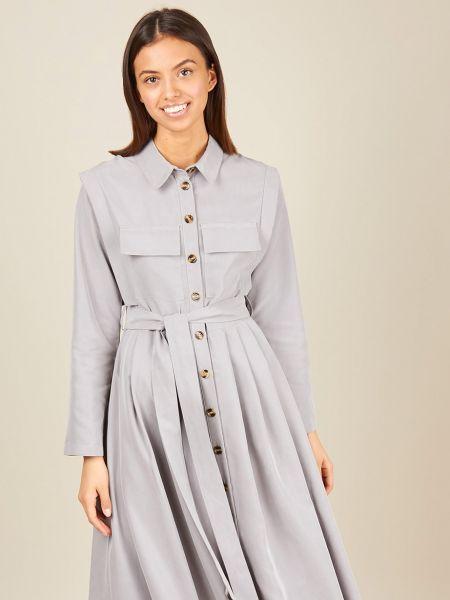 Платье макси платье-рубашка с карманами 12storeez