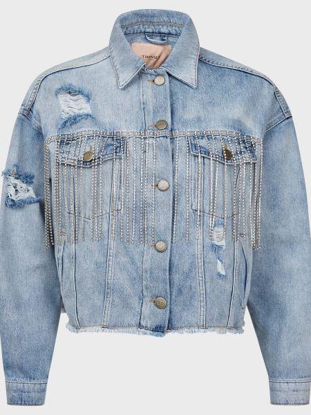 Хлопковая куртка со стразами на пуговицах Twin-set