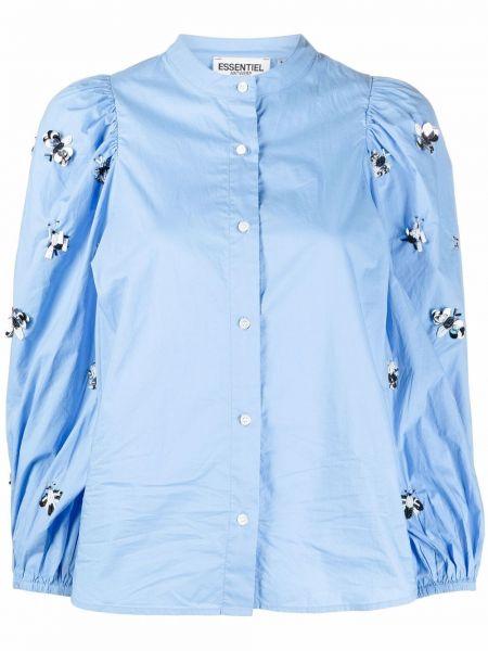 Хлопковая синяя рубашка на пуговицах Essentiel Antwerp