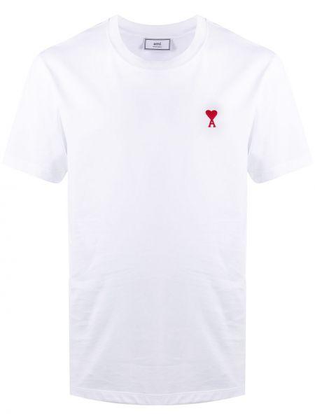 Biały t-shirt bawełniany Ami