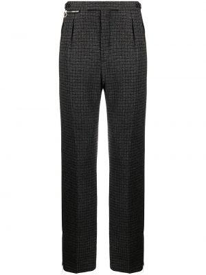 Brązowe spodnie bawełniane z printem Raf Simons