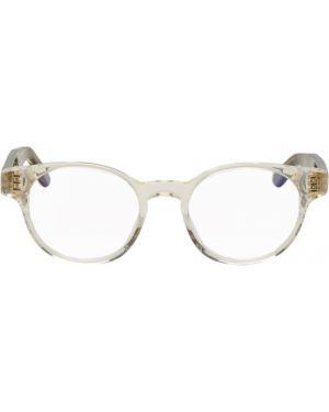 Желтые очки круглые с тиснением прозрачные Thierry Lasry