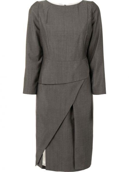 Шелковое серое с рукавами платье Christian Dior