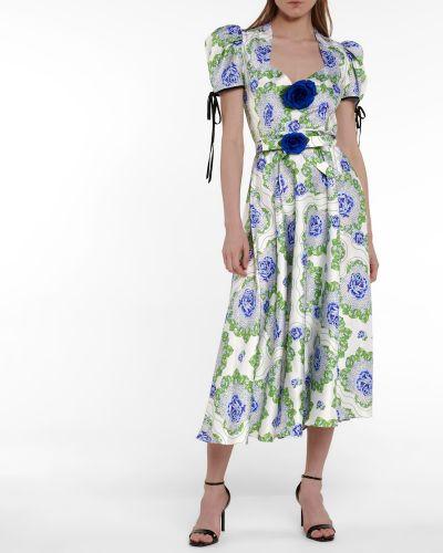 Шелковое зеленое платье миди Rodarte