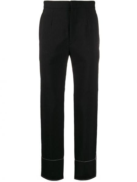 Прямые черные прямые брюки с карманами из мохера Yohji Yamamoto Pre-owned