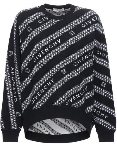 Wełniany czarny sweter przeoczenie z kołnierzem z mankietami Givenchy